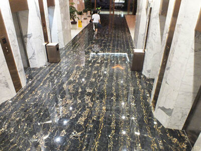 Portoro flooring & Statuario columns